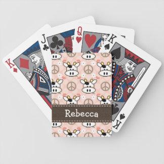 Vaca del amor de la paz barajas de cartas