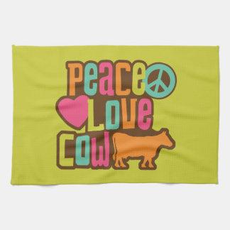Vaca del amor de la paz toallas