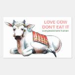 Vaca del amor rectangular pegatinas