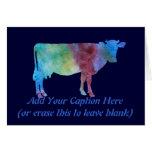 Vaca del arco iris con el texto adaptable felicitación