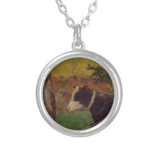 Vaca del arrodillamiento de Paul Gauguin Colgante Redondo