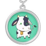 Vaca del bebé collar plateado