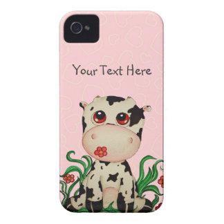 Vaca del bebé con el caso rosado del iPhone 4 de iPhone 4 Funda
