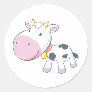 Vaca del bebé del dibujo animado etiquetas redondas
