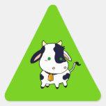 Vaca del bebé calcomanías triangulos personalizadas
