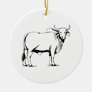 Vaca del Brahman Adorno Navideño Redondo De Cerámica