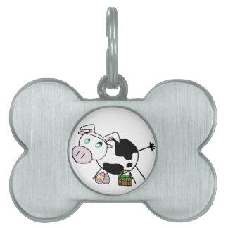 Vaca del conejito de pascua placas de nombre de mascota