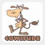 vaca del cowitude con el dibujo animado divertido calcomanías cuadradas