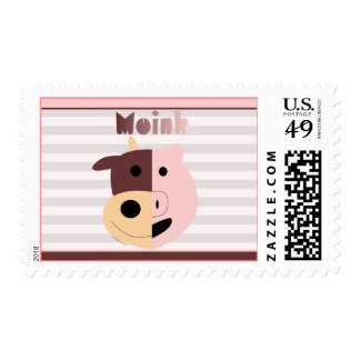 Vaca del dibujo animado + cerdo = sellos del