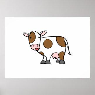 Vaca del dibujo animado posters