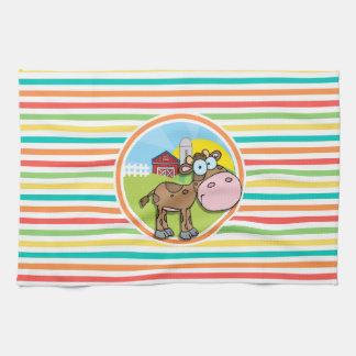 Vaca del dibujo animado Rayas brillantes del arco Toalla De Cocina