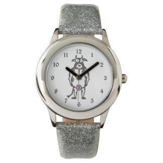 Vaca del dibujo animado relojes de pulsera
