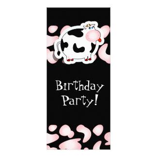 Vaca del dibujo animado, tarjeta del estante plantilla de lona