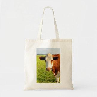 Vaca del frisio de la vista delantera bolsa lienzo