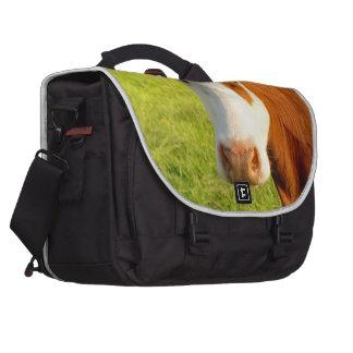 Vaca del frisio de la vista delantera bolsas para ordenador