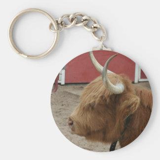 Vaca del ganado de la montaña llavero redondo tipo pin
