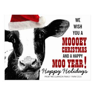 Vaca del gorra de Santa del navidad de MOOey Tarjeta Postal