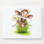 Vaca del jersey en hierba alfombrilla de ratón