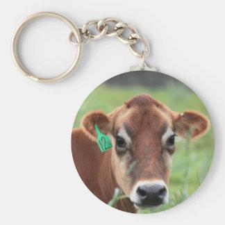Vaca del jersey llavero redondo tipo pin