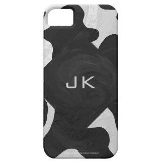 Vaca del monograma blanco y negro funda para iPhone SE/5/5s