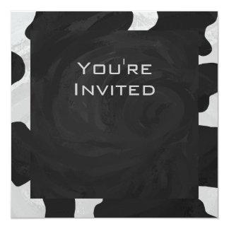 """Vaca del monograma blanco y negro invitación 5.25"""" x 5.25"""""""