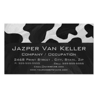 Vaca del monograma blanco y negro tarjetas de visita