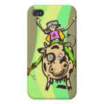Vaca del montar a caballo del hombre iPhone 4/4S carcasas