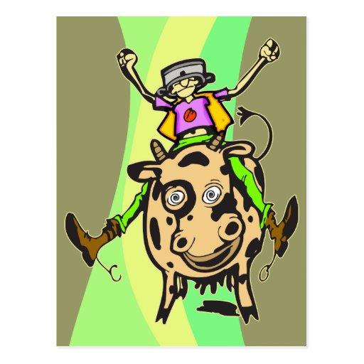 Vaca del montar a caballo del hombre postal