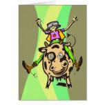 Vaca del montar a caballo del hombre tarjeton