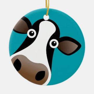Vaca del MOO Adorno Navideño Redondo De Cerámica