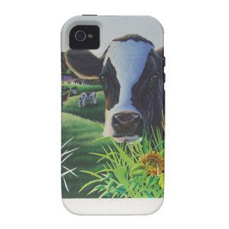 Vaca del MOO con los girasoles iPhone 4 Funda