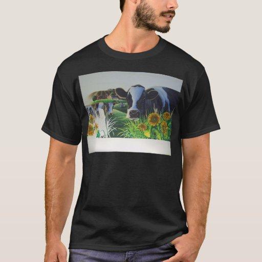 Vaca del MOO con los girasoles Playera