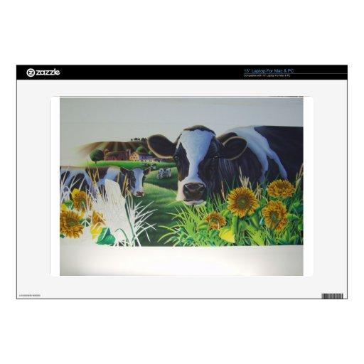 Vaca del MOO con los girasoles 38,1cm Portátil Calcomanías