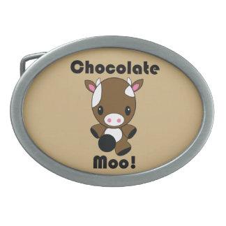 Vaca del MOO Kawaii del chocolate Hebillas De Cinturon Ovales
