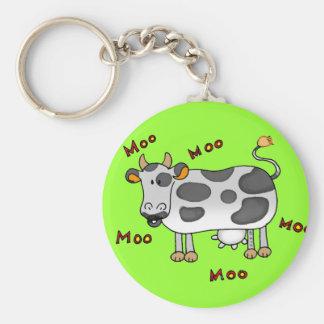Vaca del MOO Llavero Redondo Tipo Pin