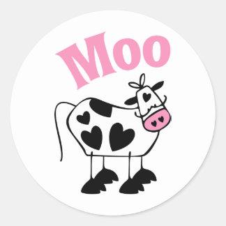 Vaca del MOO Pegatina Redonda