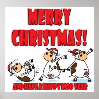 Vaca del navidad de Breakdancing Impresiones