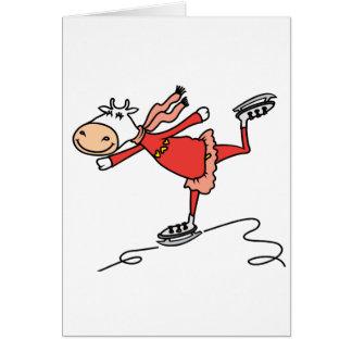 Vaca del patinaje de hielo tarjeta de felicitación