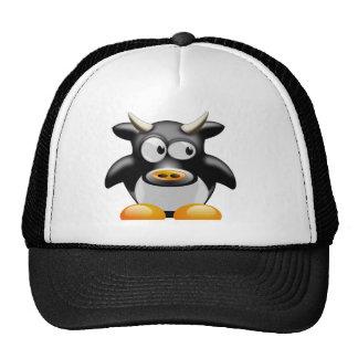 Vaca del pingüino con los cuernos gorro de camionero