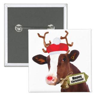 Vaca del reno de las Felices Navidad de Mooey Pin Cuadrado