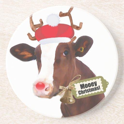 Vaca del reno de las Felices Navidad de Mooey Posavasos Para Bebidas