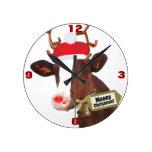 Vaca del reno de las Felices Navidad de Mooey Reloj De Pared