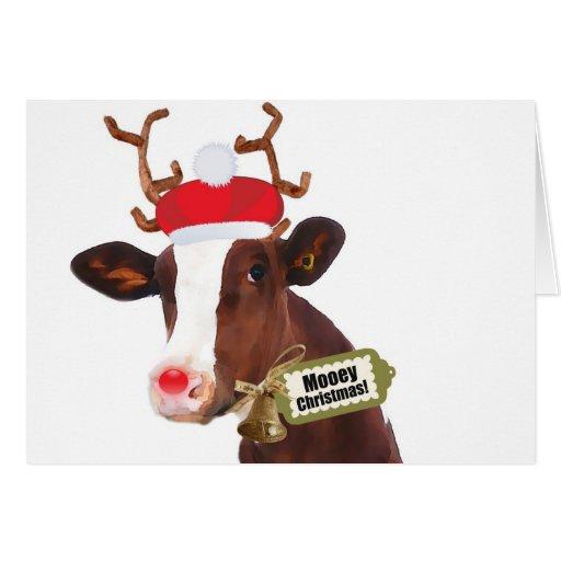 Vaca del reno de las Felices Navidad de Mooey Tarjetón