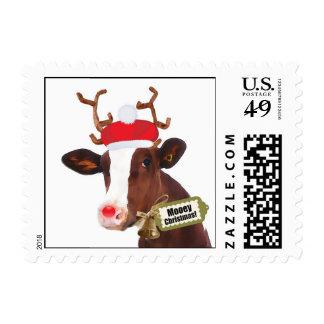 Vaca del reno de las Felices Navidad de Mooey Timbre Postal