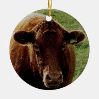 Vaca del sur de Dartmoor Devon Adorno Navideño Redondo De Cerámica