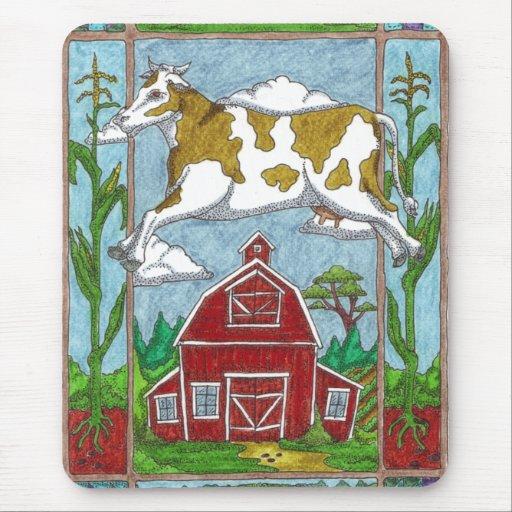 Vaca del vuelo mouse pad