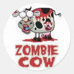 Vaca del zombi etiquetas redondas