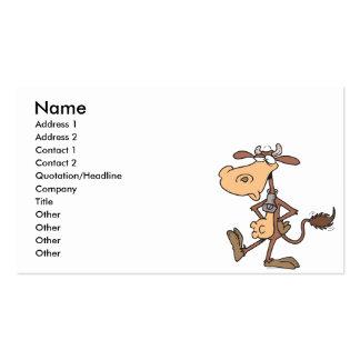 vaca derecha tonta divertida del dibujo animado tarjetas de visita