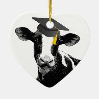 Vaca divertida de la graduación de la enhorabuena adorno navideño de cerámica en forma de corazón
