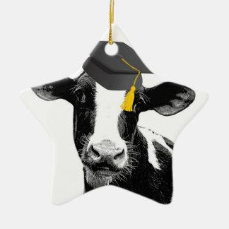 Vaca divertida de la graduación de la enhorabuena adorno navideño de cerámica en forma de estrella